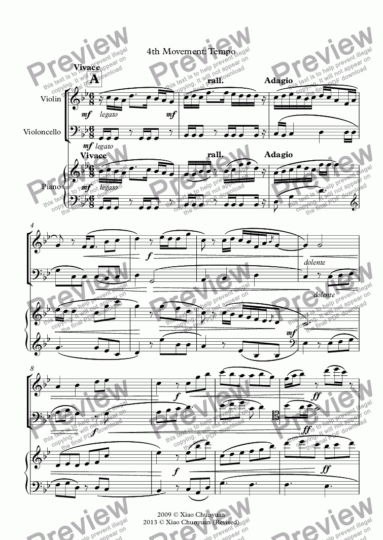 page one of Piano Trio No 1 4th Movement Tempo