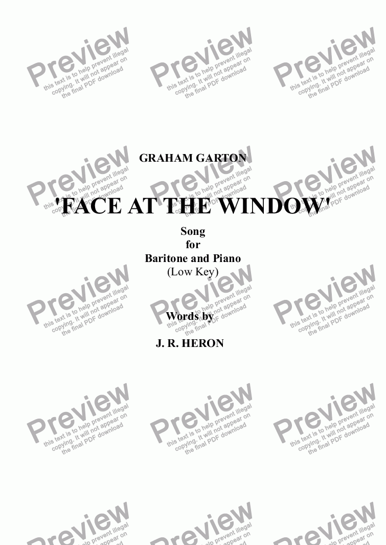 page one of SONG - 'FACE AT THE WINDOW' for Baritone and Piano Words: J. R. Heron (lower key)