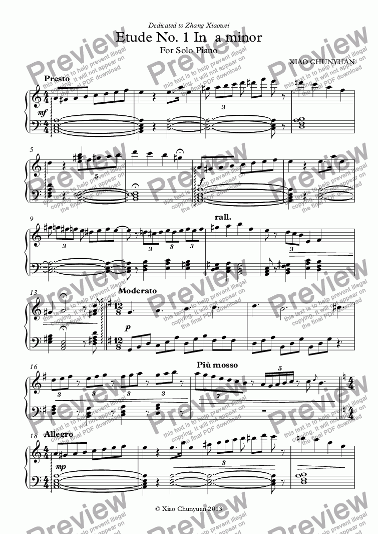 page one of Etude No. 1 In  a minor