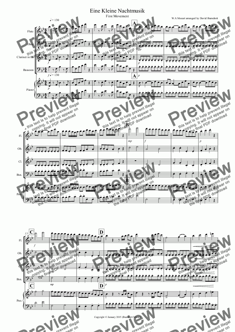 page one of Eine Kleine Nachtmusik (1st Movement) for Wind Quartet