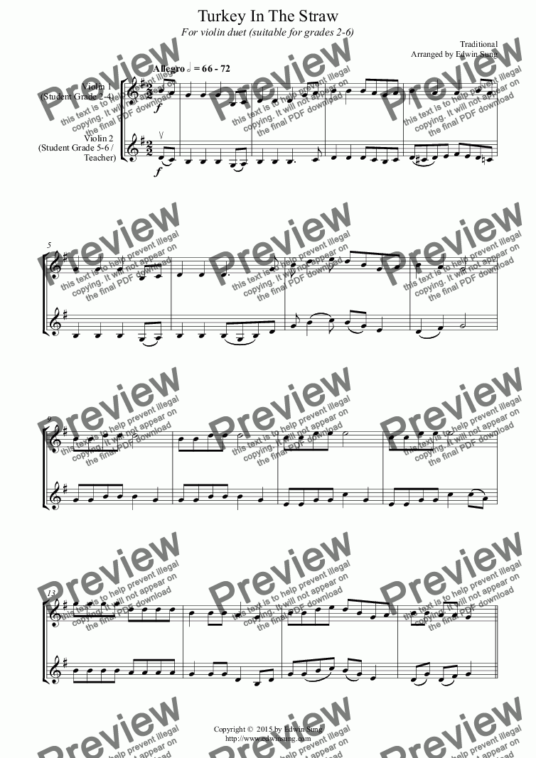 page one of Turkey In The Straw (for violin duet, suitable for grades 2-6) (151VNDU04)