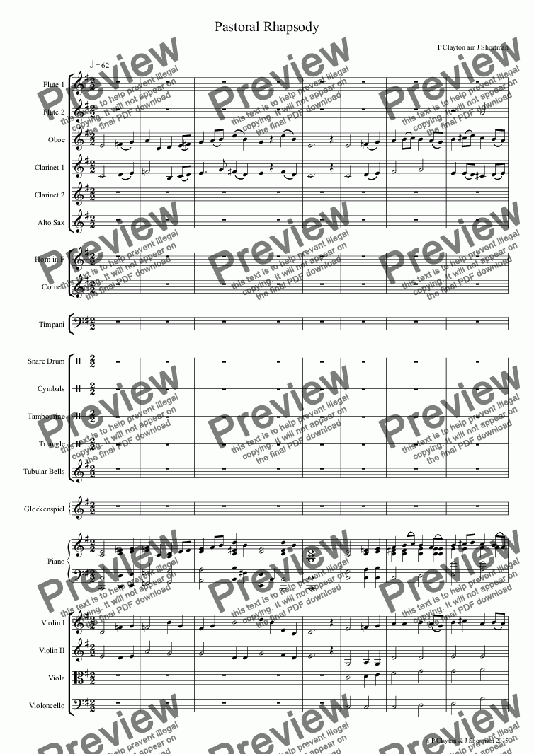 page one of CLAYTON Pastoral Rhapsody - arrangement for training orchestra