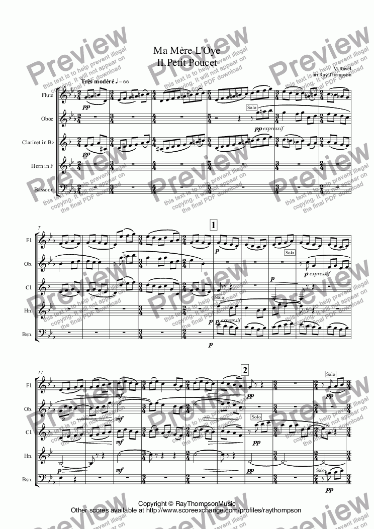 page one of Ravel: Ma Mère L'Oye (Mother Goose Suite) II.Petit Poucet (Tom Thumb) arr.wind quintet