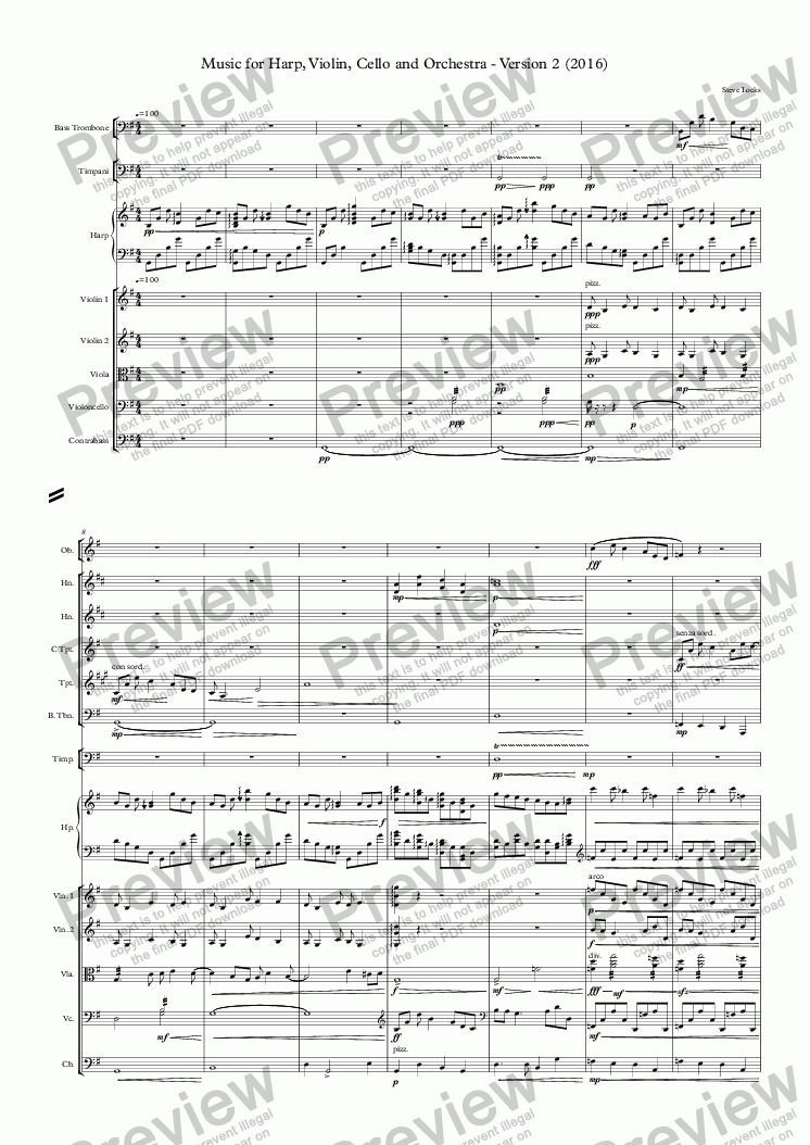 page one of Music for Harp, Violin, Cello and Orchestra - Version 2 (2016)ASALTTEXT