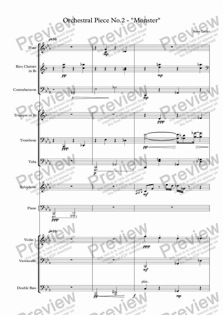 "page one of Orchestral Piece No.2 - ""Monster"""