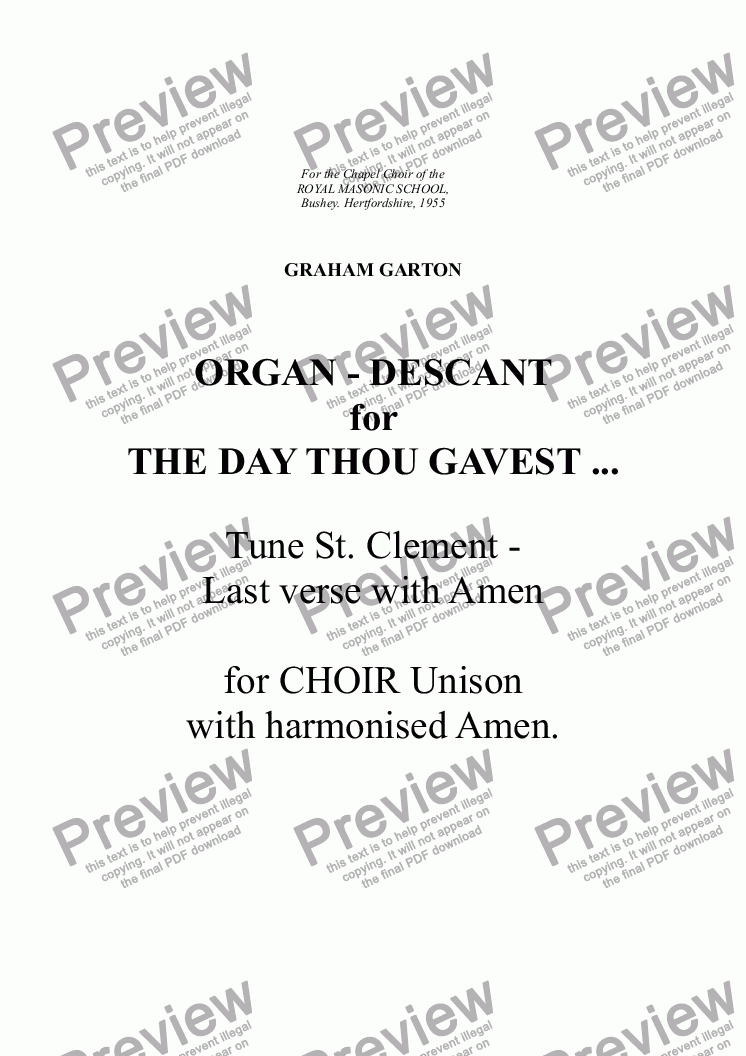 page one of ORGAN -  The Day thou gavest... Tune St. Clement  Last verse with Amen