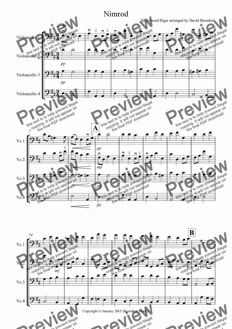 Nimrod (from the Enigma Variations) for Cello Quartet - Sheet Music