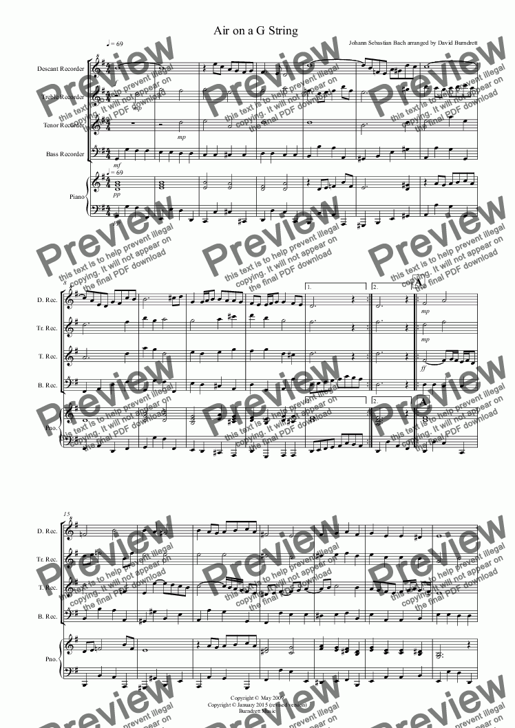 page one of Air on a G String for Recorder QuartetASALTTEXT