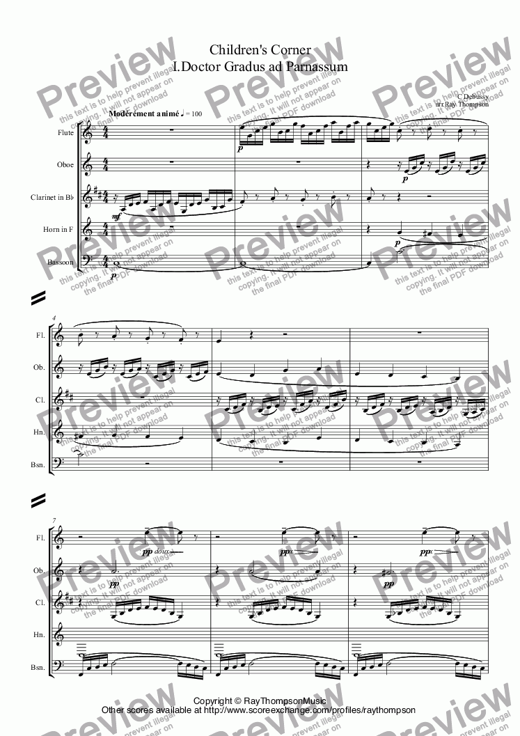 page one of Debussy: A Selection of Pieces from Children's Corner 1. Doctor Gradus ad Parnassum 2.Jimbo's Lullaby 3. Serenade of the Doll 5.The little shepherd 6.Golliwogg's Cake Walk. arr. wind quintet