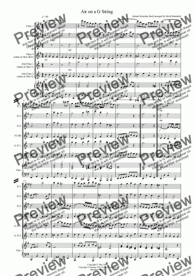 page one of Air on a G String for Flute QuartetASALTTEXT