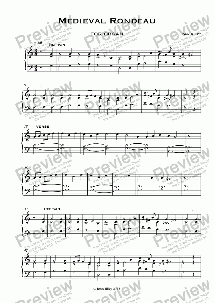 page one of Medieval Rondeau (Organ).  Sound file performed and recorded by Carson Cooman.ASALTTEXT