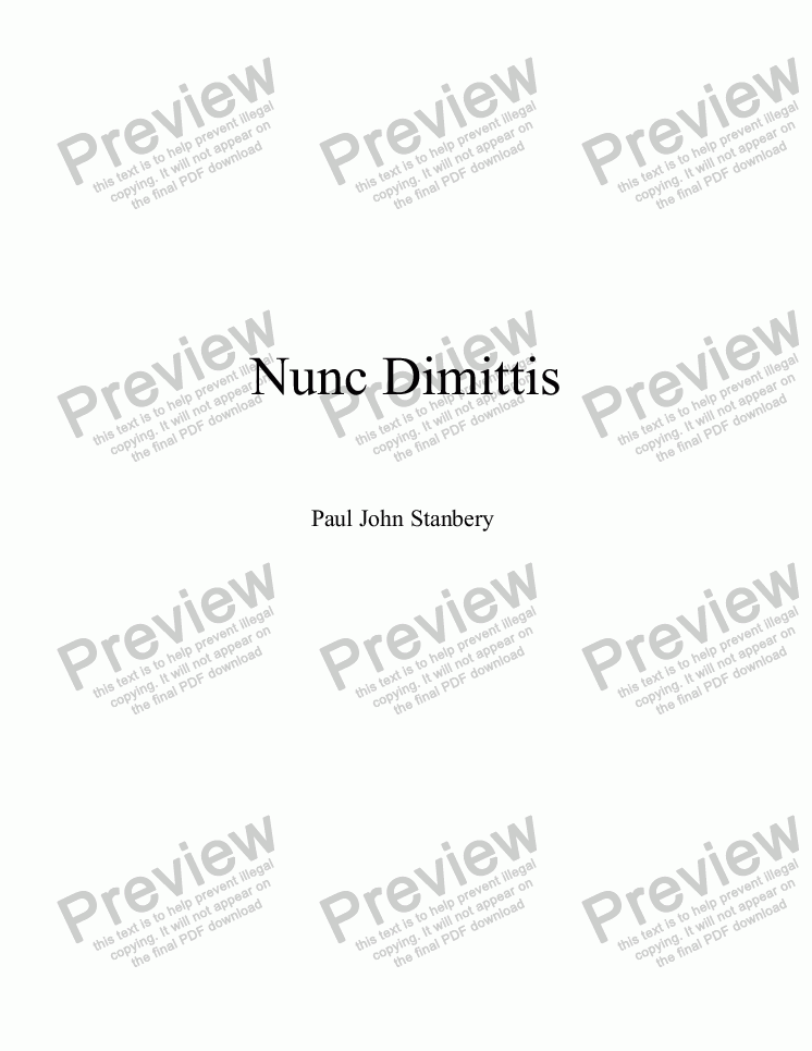 page one of Nunc Dimittis