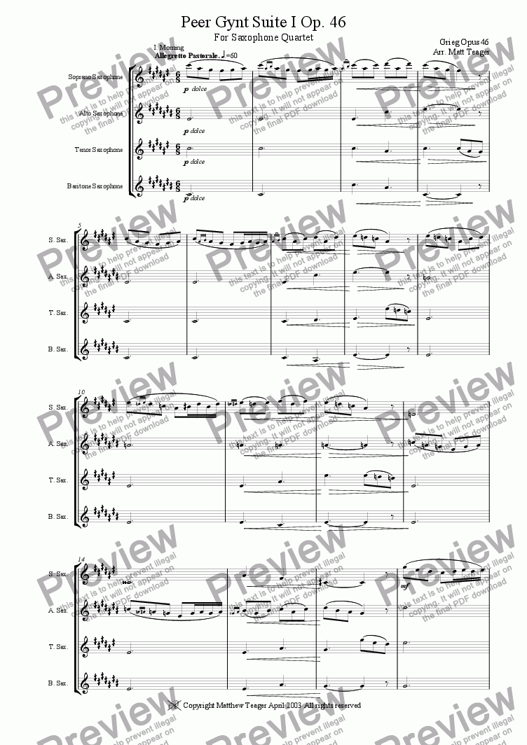 page one of Peer Gynt Suite I op.46 Arranged for Sax Quartet
