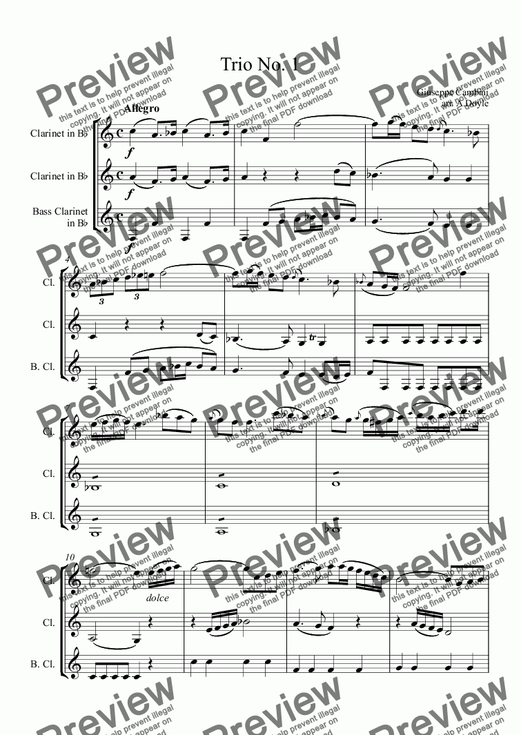 page one of Trio No. 1 for 3 clarinets
