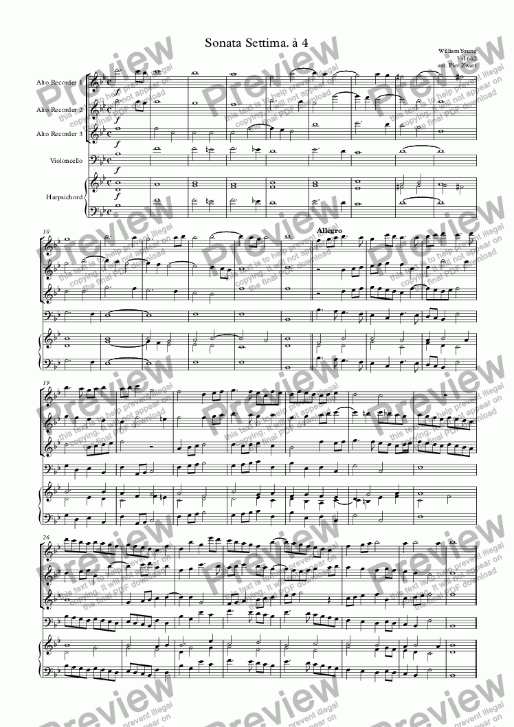 page one of Sonata Settima. à 4 (Young)