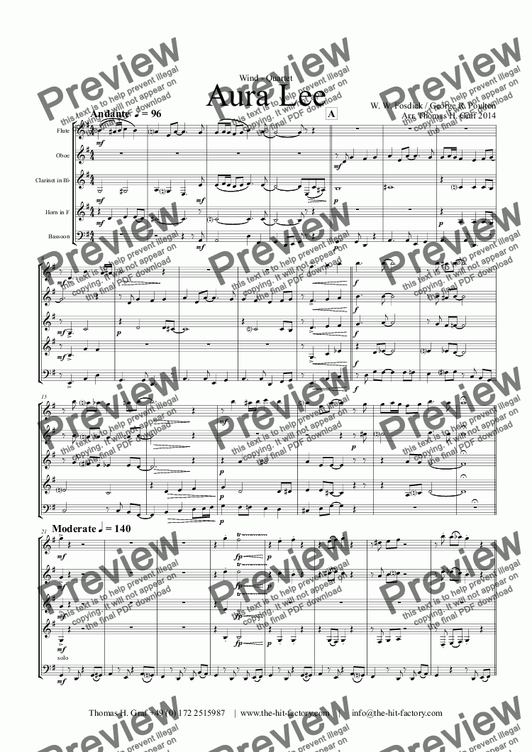 "page one of Aura Lee  (""Love me tender"") - Wind Quintet"