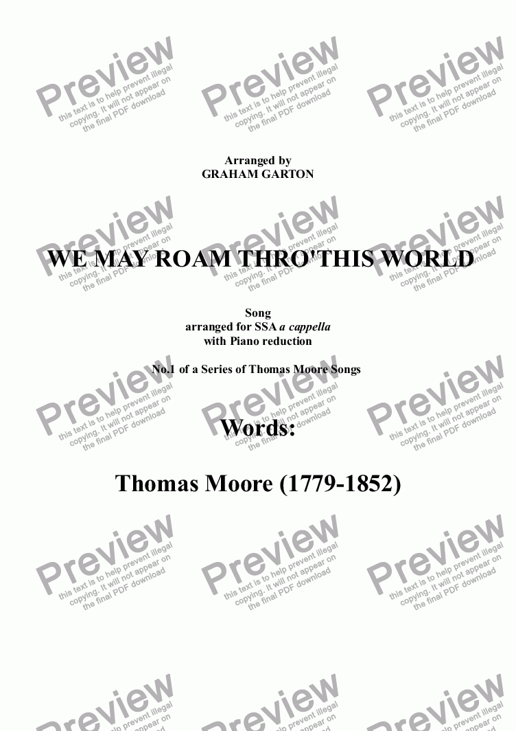 page one of PART-SONG - 'WE MAY ROAM THRO' THIS WORLD' THOMAS MOORE (1759-1852) No.1 Arr. for SSA a cappella (From set of 11 PART-SONGS)