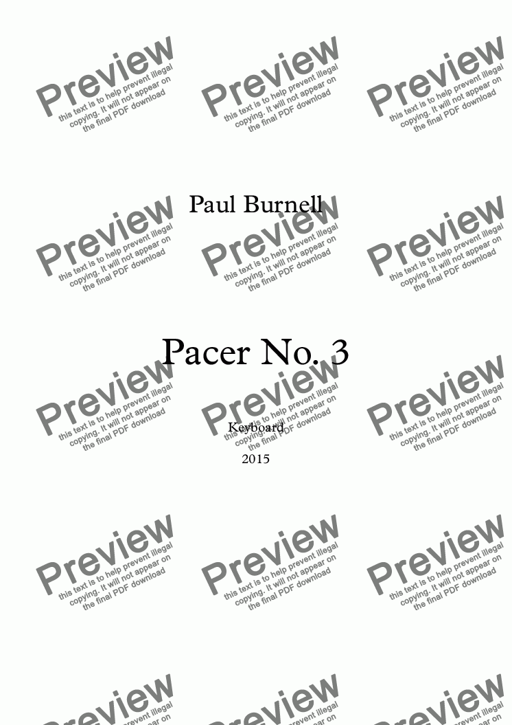 page one of Pacer No. 3, for keyboard