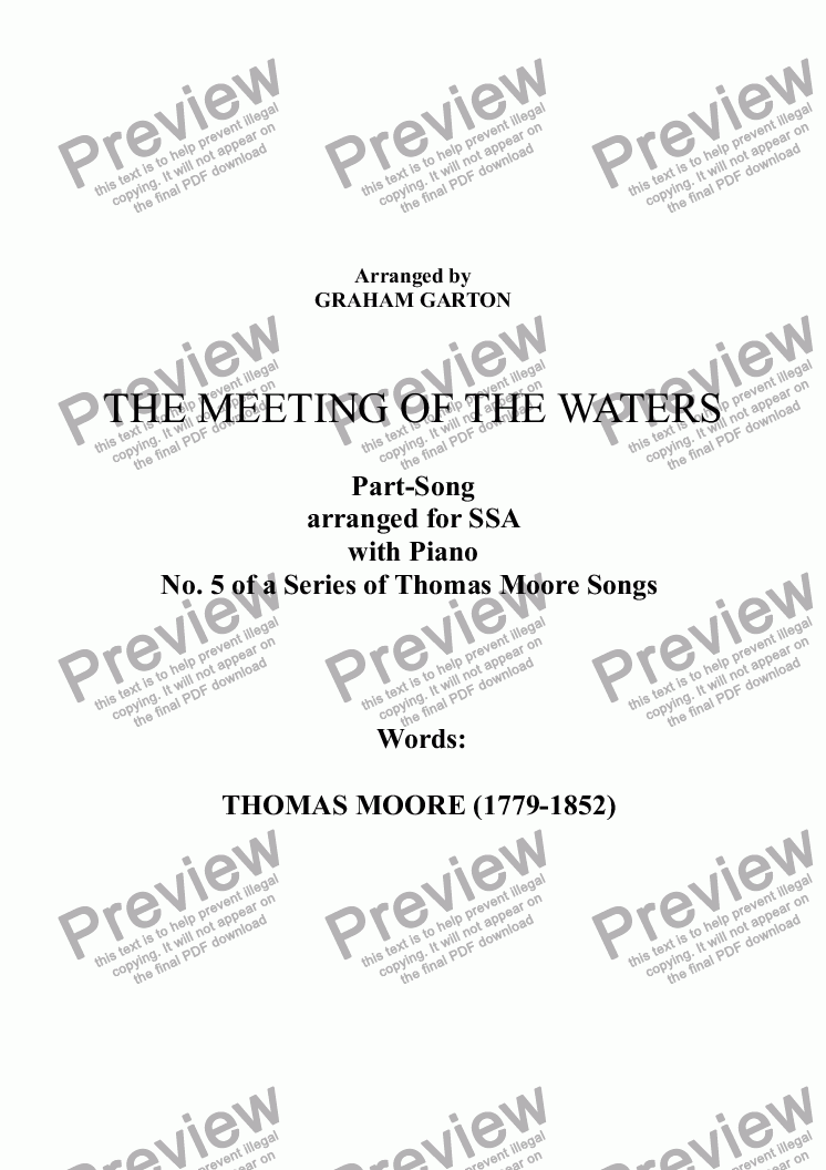 page one of PART-SONG - 'THE MEETING OF THE WATERS' - THOMAS MOORE (1779-1852) No.5 arr. for SSA a cappellaASALTTEXT