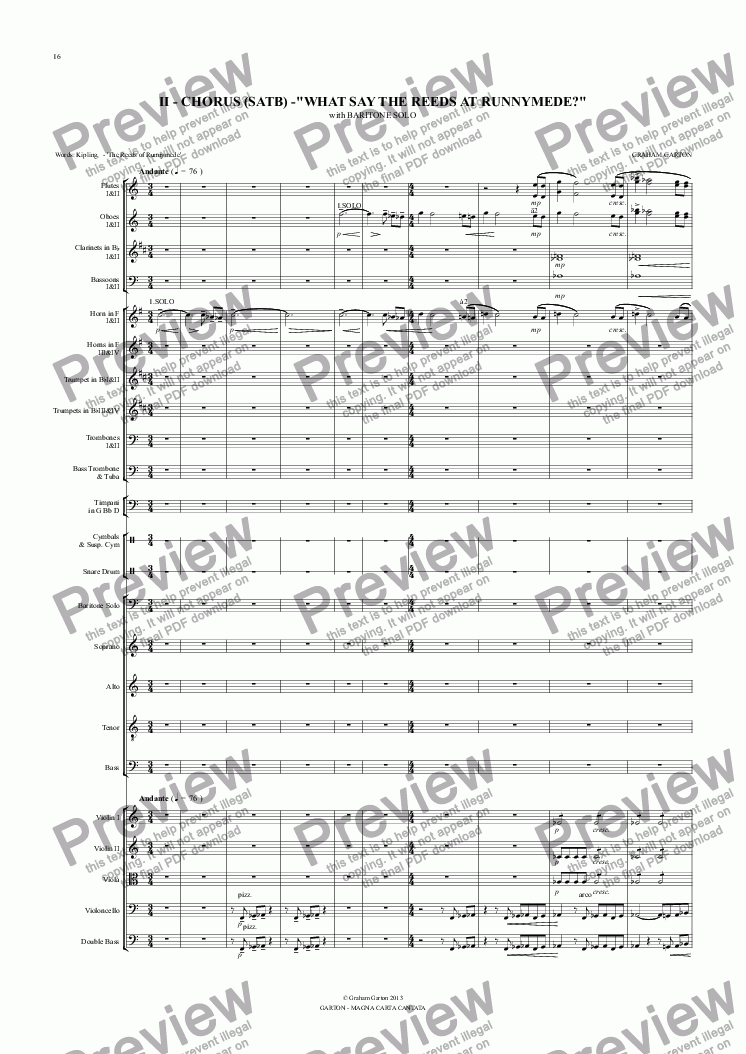 "page one of Magna Carta Cantata - No.2 - Full Score - CHORUS (SATB) -""WHAT SAY THE REEDS AT RUNNYMEDE?"""