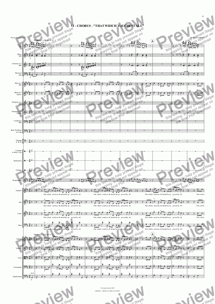 "page one of Magna Carta Cantata - No.6 - Full Score  - VI - CHORUS - ""THAT WHICH TOUCHEST ALL"""