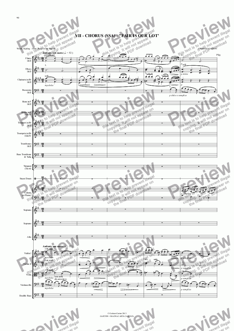 "page one of Magna Carta Cantata - No.7 - Full Score - CHORUS (SSA) - ""FAIR IS OUR LOT'"