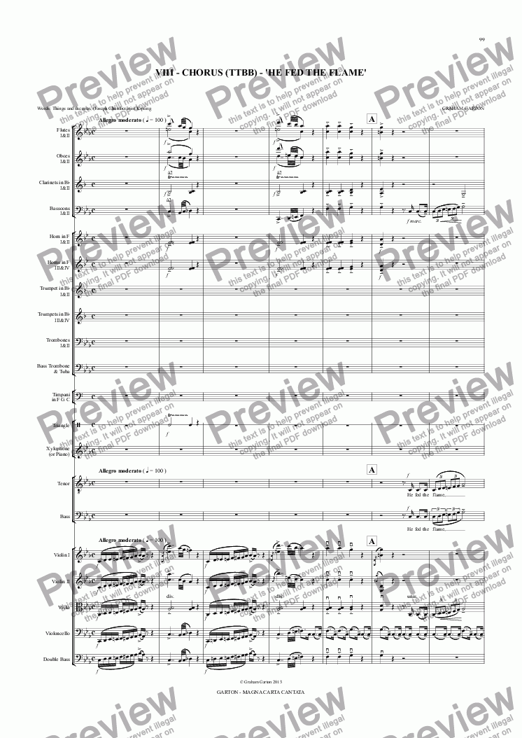 page one of Magna Carta Cantata - No.8 - Full Score - CHORUS (TTBB) - 'HE FED THE FLAME'