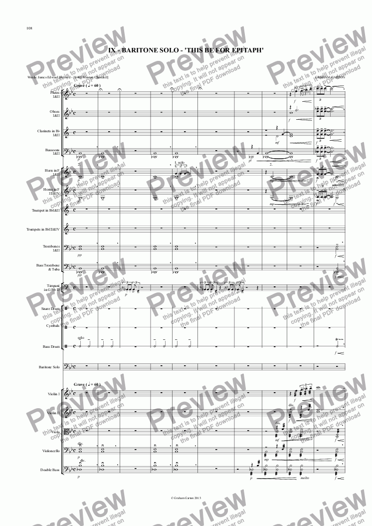 page one of Magna Carta Cantata - No.9 - Full Score - BARITONE SOLO - 'THIS BE FOR EPITAPH'