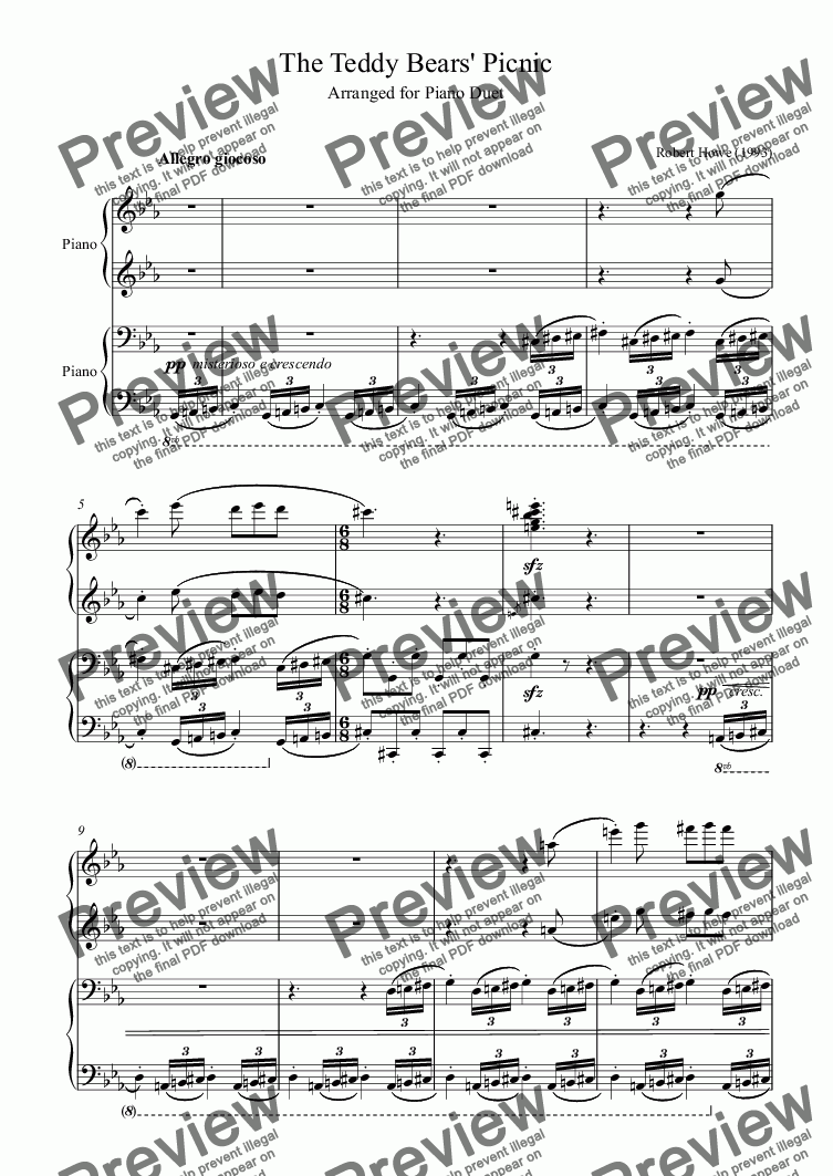 page one of The Teddy Bears' Picnic Jr (piano duet)