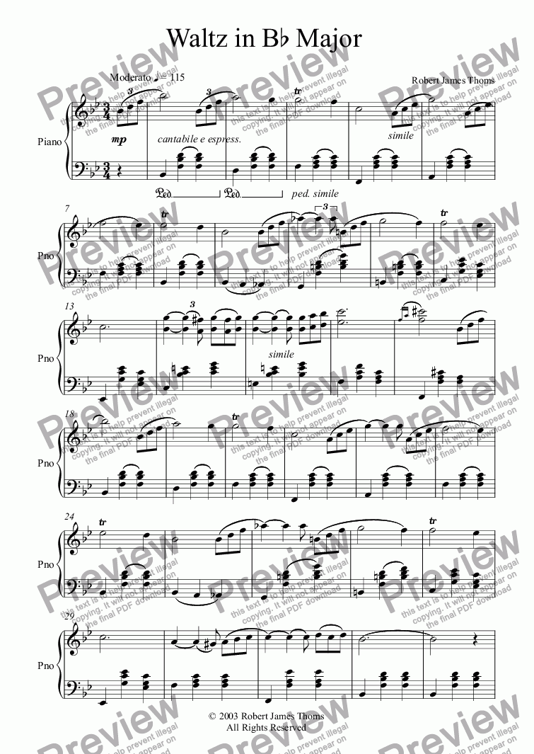 page one of  Waltz in Bb Major