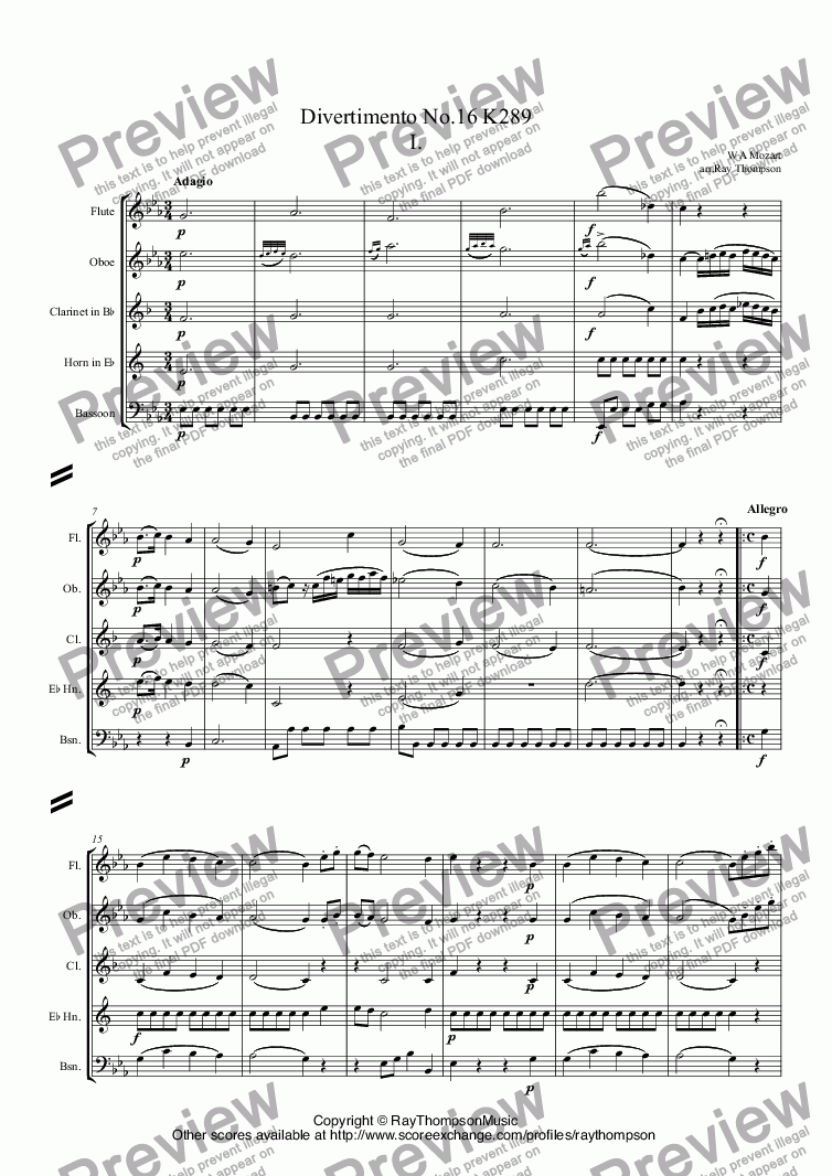 page one of Mozart: Divertimento No.16 K289 in Eb Mvt.I arr.wind quintetASALTTEXT