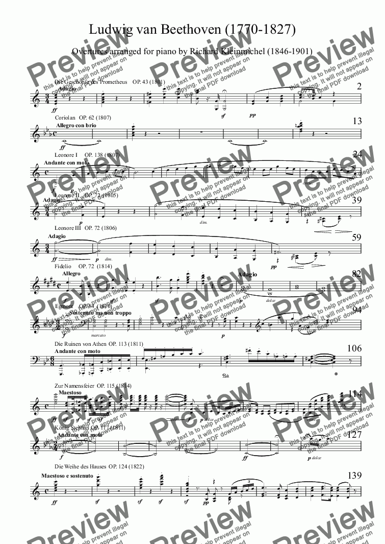 page one of Overtures arranged for pianoASALTTEXT