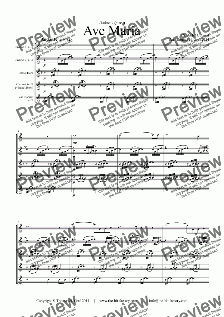 page one of Ave Maria - Clarinet Quartet