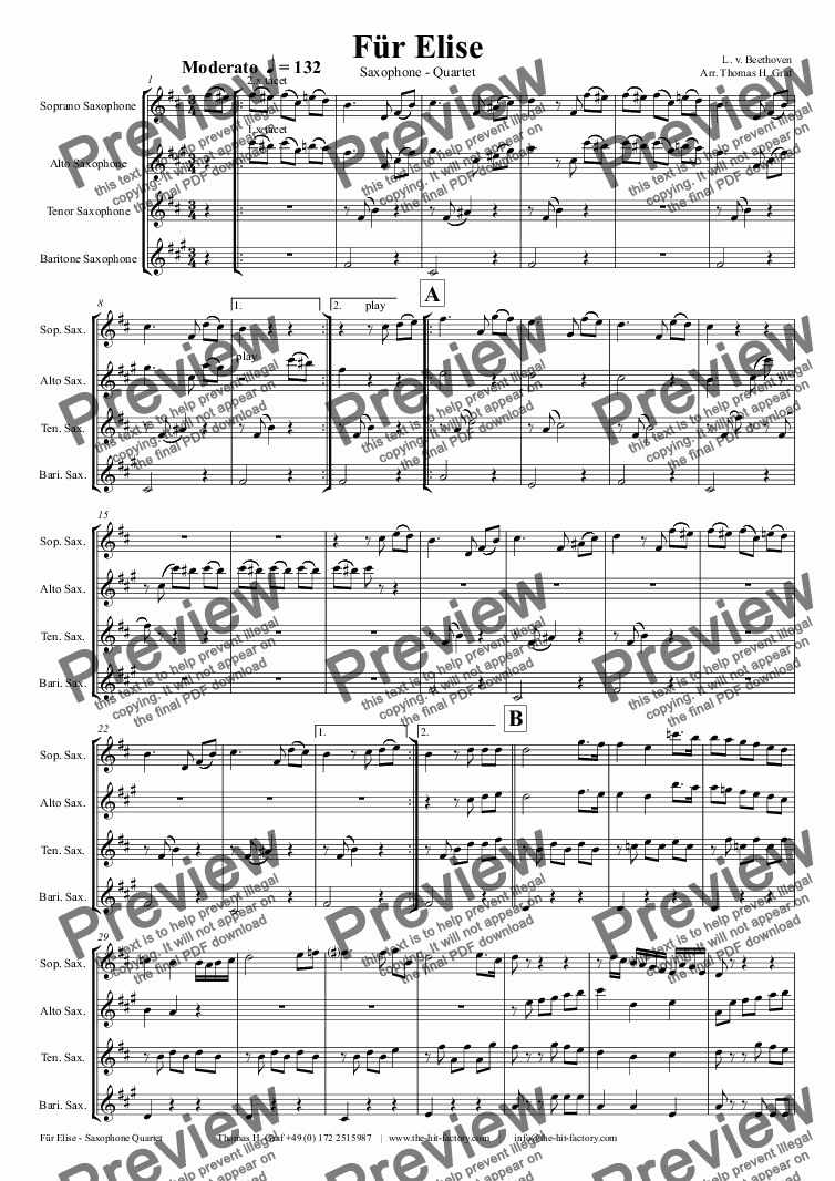 page one of For Elise - Ludwig van Beethoven - Saxophone Quartet