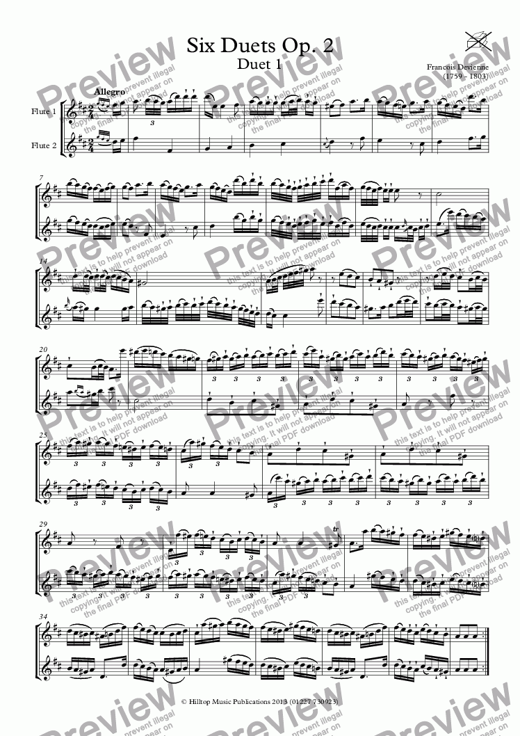 page one of Devienne Six flute duets