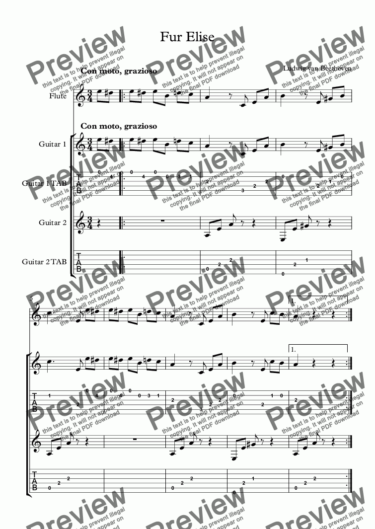 page one of Fur Elise - Trio for Two Guitars and (Optional) Flute (with TAB)ASALTTEXT
