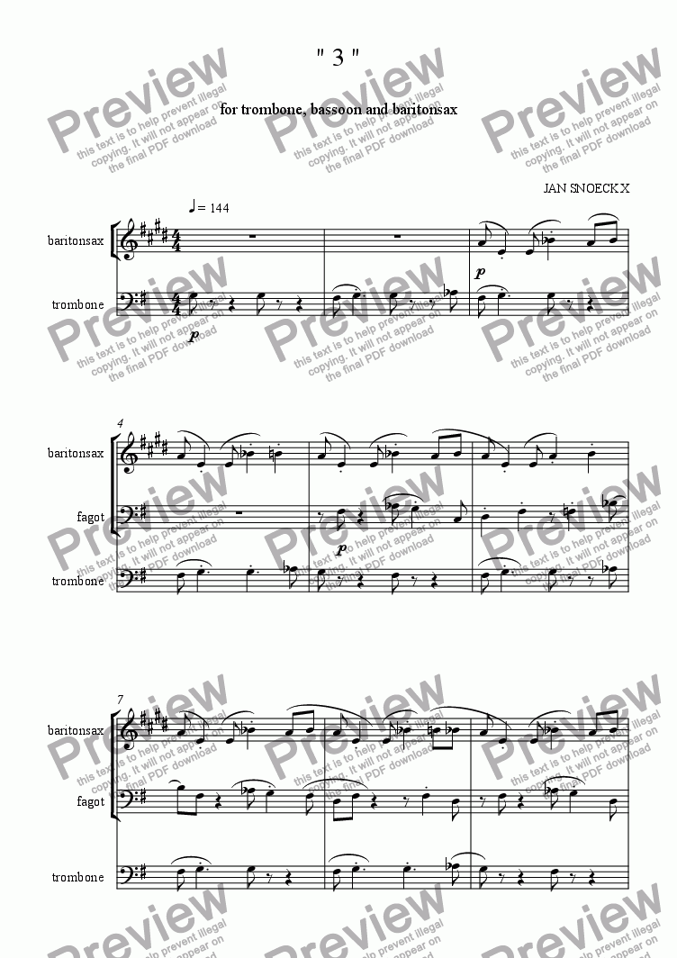 "page one of ""3""   trio for bassoon, trombone and bariton sax"