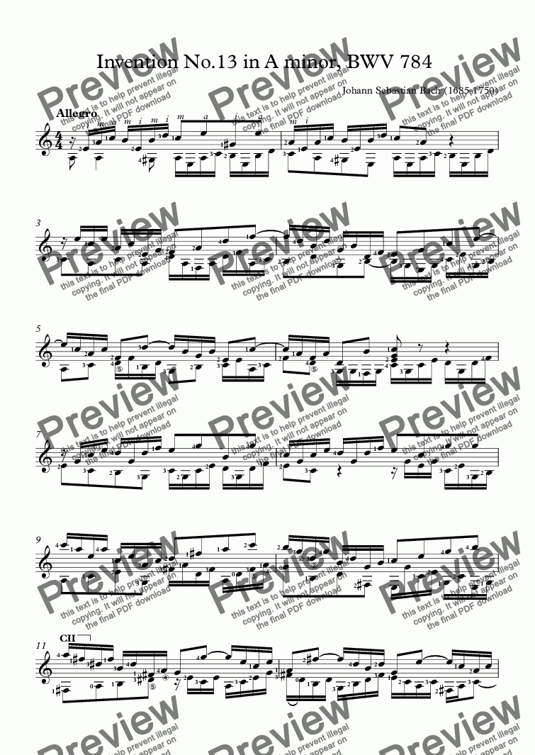 Invention No 13 in A minor, BWV 784 (Guitar Solo) for Solo instrument  (Classical Guitar [notation]) by Johann Sebastian Bach (1685-1750) - Sheet  Music
