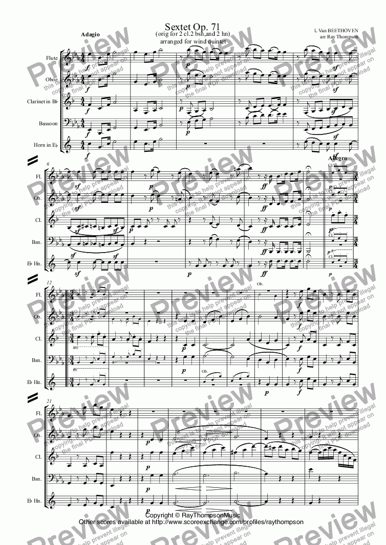 page one of Beethoven: Sextet Op. 71 (complete) arr.wind quintet