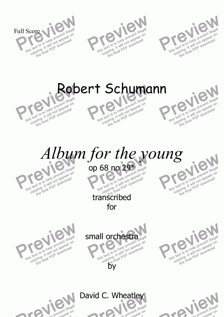 page one of Schumann Album for the young op 68 no 29 'Stranger' for small orchestra