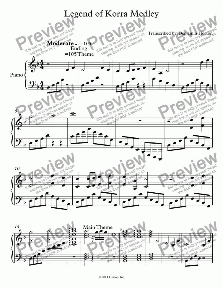 Legend of Korra Medley - Download Sheet Music PDF file