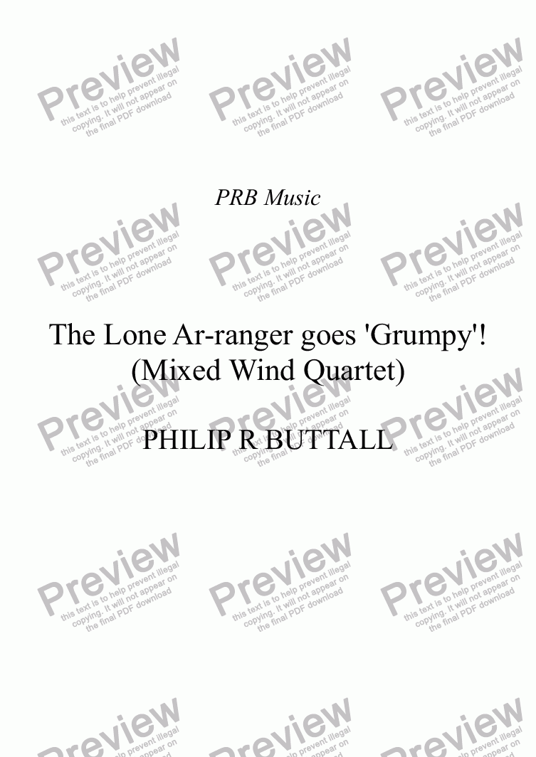 page one of The Lone Ar-ranger goes 'Grumpy'! (Mixed Wind Quartet)