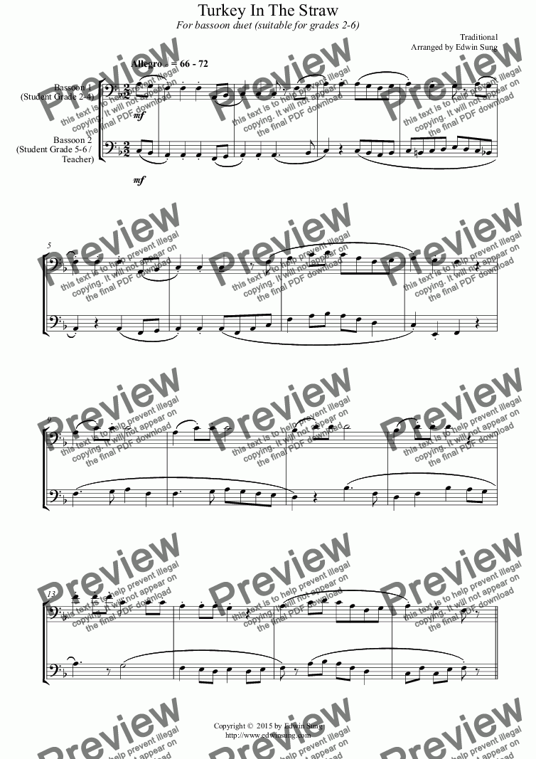 page one of Turkey In The Straw (for bassoon duet, suitable for grades 2-6) (152BNDU01)