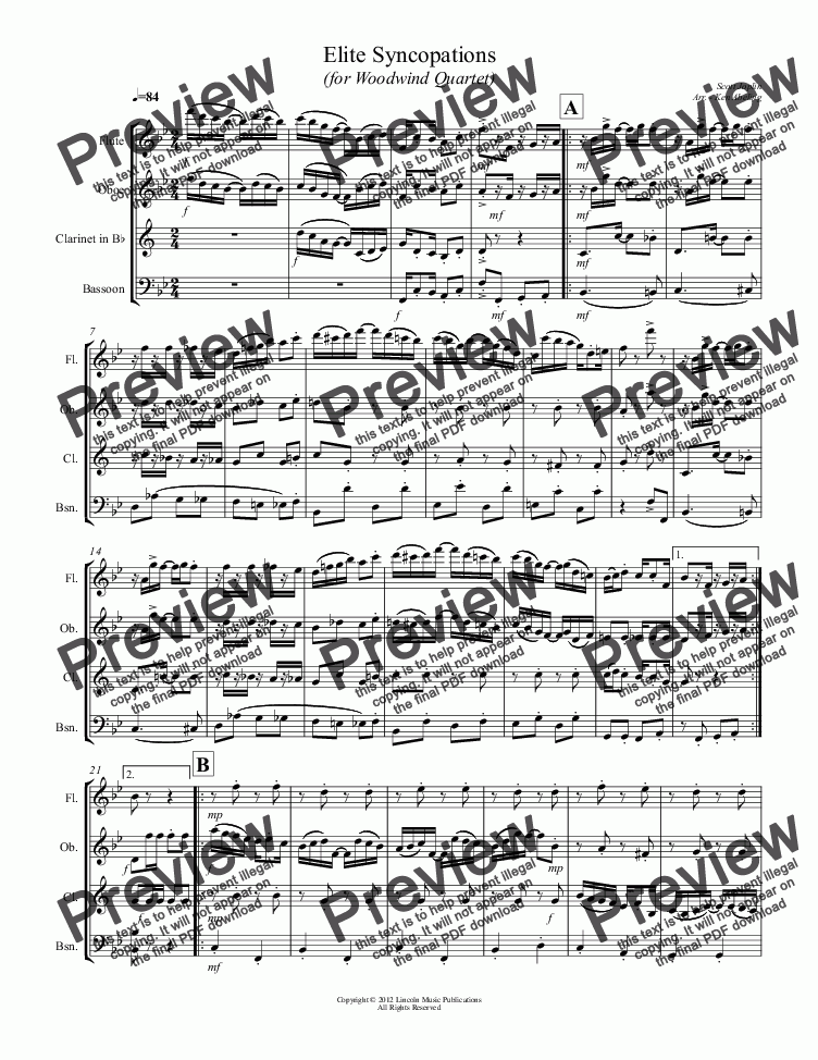 page one of Joplin - Elite Syncopations (for Woodwind Quartet)