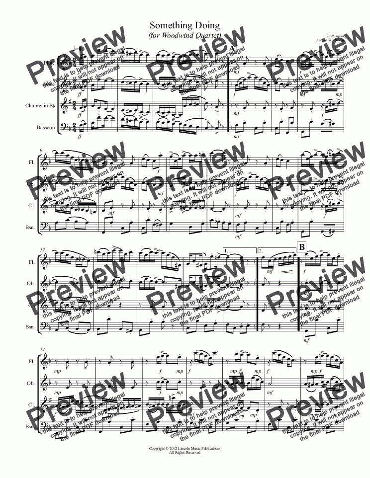 page one of Joplin - Something Doing (for Woodwind Quartet)