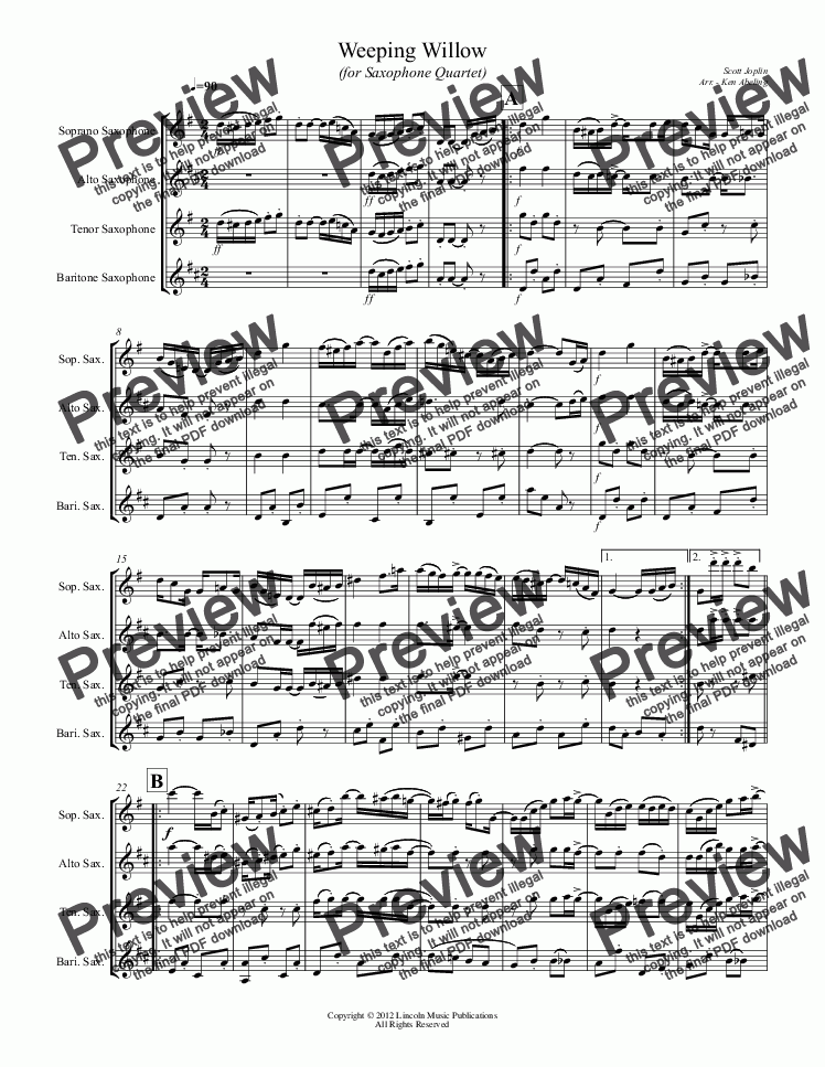 page one of Joplin - Weeping Willow (for Saxophone Quartet SATB)