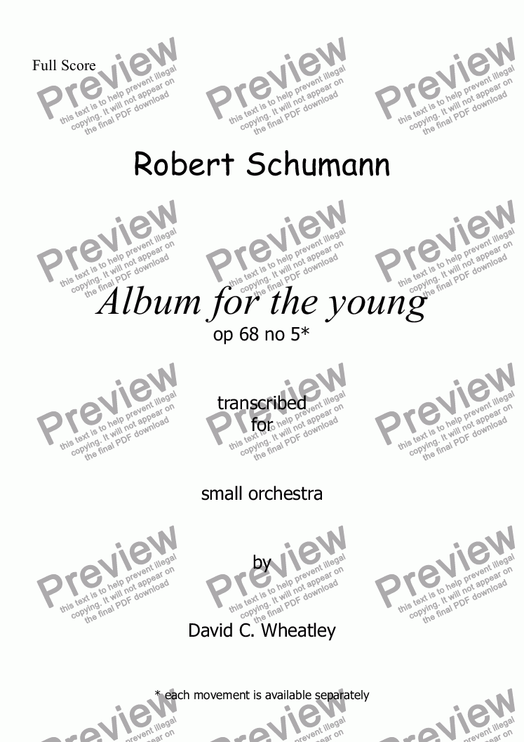 page one of Schumann Album for the young op 68 no 6 'The poor orphan' for small orchestraASALTTEXT