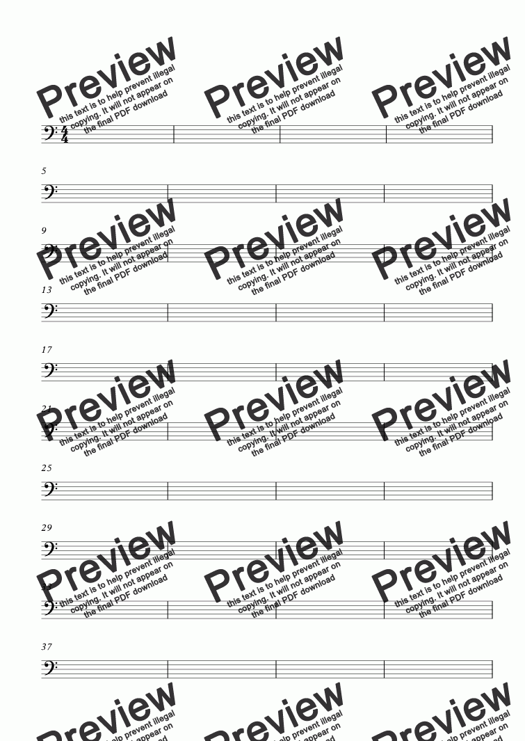 page one of BLANK BASS CLEF MANUSCRIPT PAPER