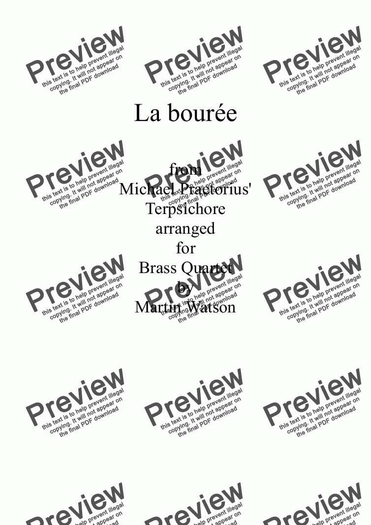 page one of La bourée from Terpsichore for Brass Quartet