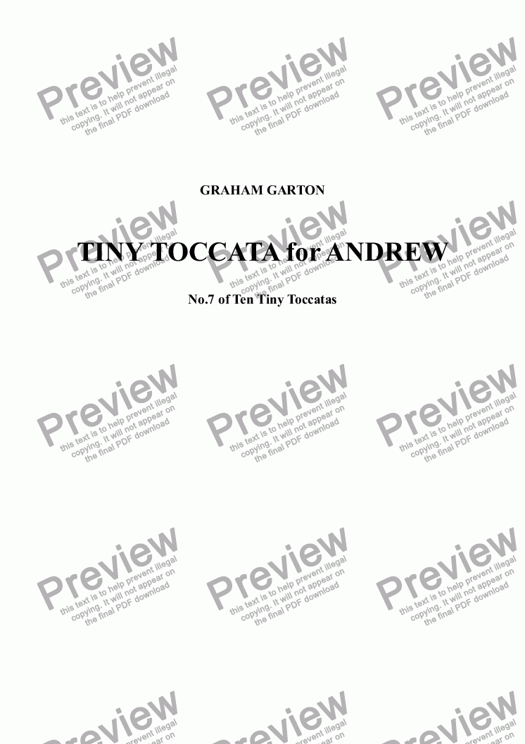 page one of PIANO MUSIC - TINY TOCCATA for ANDREW No.7 of Ten Tiny ToccatasASALTTEXT
